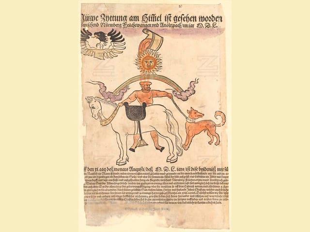 Mittelalterliches Flugblatt mit bunter Illustration
