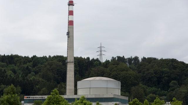 Atomkratwerk Mühleberg inmitten von Bäumen