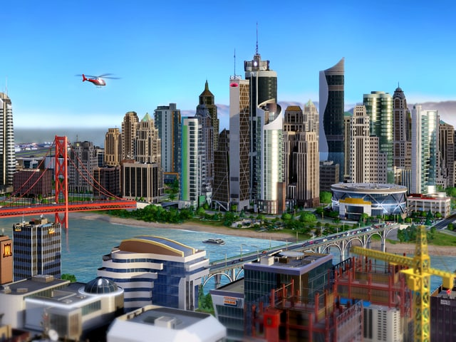 Ein Screenshot des Games «SimCity» zeigt die Skyline einer im Computer erschaffenen Stadt.
