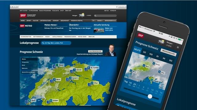 Die Bildschirme auf Desktop und Mobile mit geöffnetem Web-Auftritt von SRF Meteo.