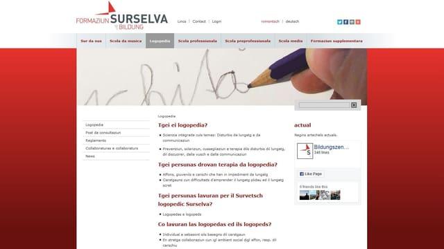 screenshot da la pagina d'internet dal Servetsch logopedic Surselva