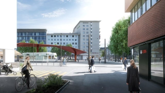 Visualisierung des neuen Stadtplatzes in Schlieren