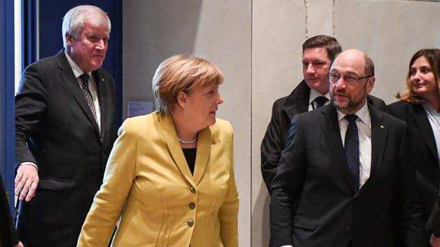 Horst Seehofer, Angela Merkel und Martin Schulz.