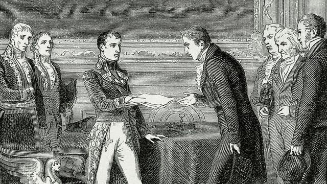 Schwarz-Weiss Bild von Männern aus dem 19. Jahrhundert, die ein Dokument austauschen
