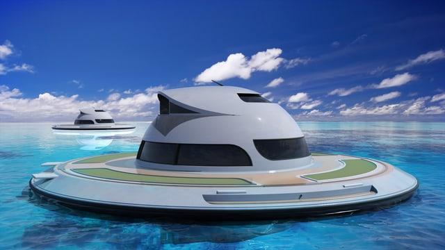 Zwei runde, schiffähnliche Gebilde mit runder Plattform, in deren Mitte eine Halbkugel mit Fenstern