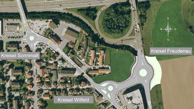 Situation/Plan mit eingezeichneten Kreiseln beim Autobahnanschluss Wil.