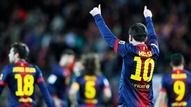 Lionel Messi schliesst das Kalenderjahr 2012 mit 91 Treffern ab.