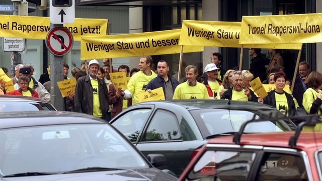 Demonstration in Rapperswil-Jona gegen den Verkehr.