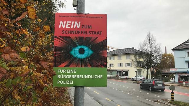 """Plakat """"Nein zum Schnüffelstaat."""