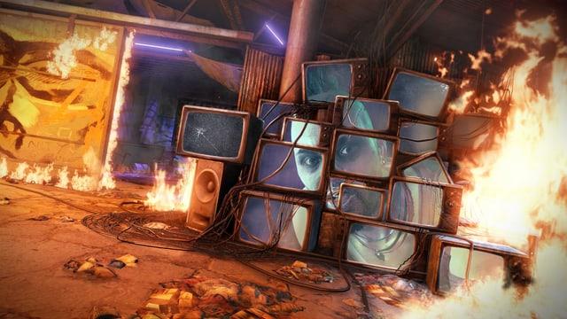 Der Pirat Vaas schimpft aus brennenden TV-Geräten.