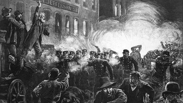 Schwarz-weiss Stich einer Bombenexplosion während eines Arbeiterstreiks 1886 in Chicago.
