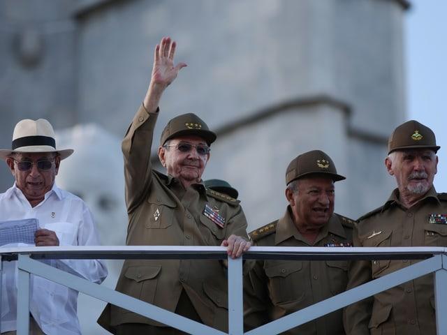 Jose Ramón Machado Ventura, Raúl Castro, Guillermo Garcia, Ramiro Valdés