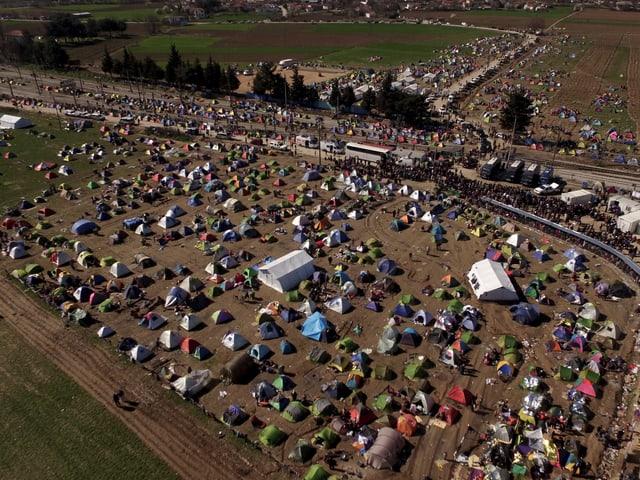 Flüchtlingslager Idomeni (Luftaufnahme)