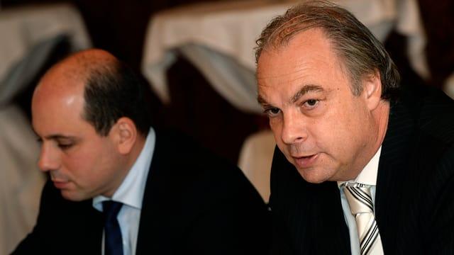 Roger Liebi und Mauro Tuena an der Medienkonferenz