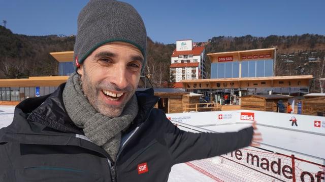 Philippe Gerber vor dem House of Switzerland in Pyeongchang.