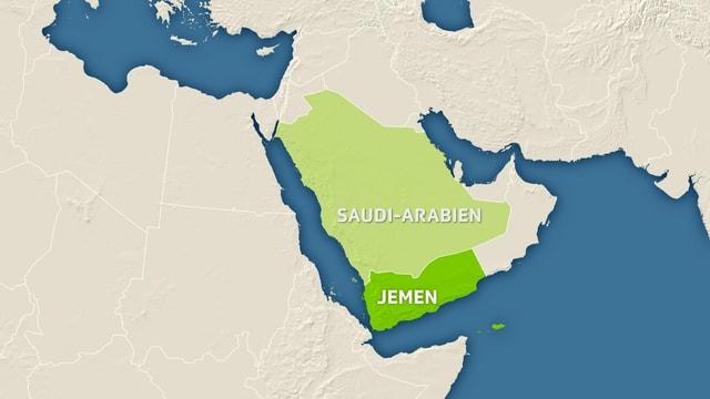 Karte Jemen und Saudi-Arabien