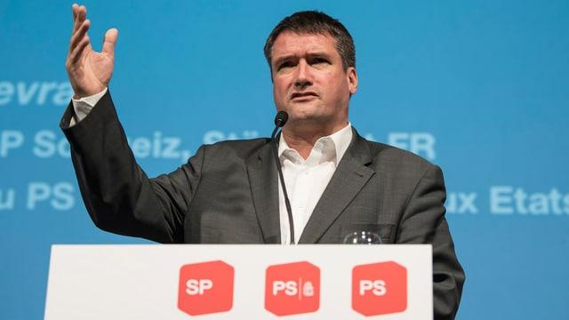 Christian Levrat während seiner Rede am Parteitag in Thun.