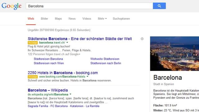 Google-Seite mit dem Wort Barcelona im Suchfeld
