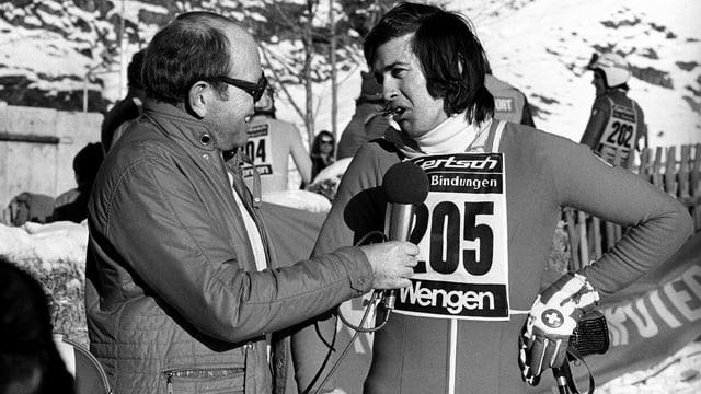 Karl Erb durant l'intervista cun Bernhard Russi ils 10 da schaner 1974.