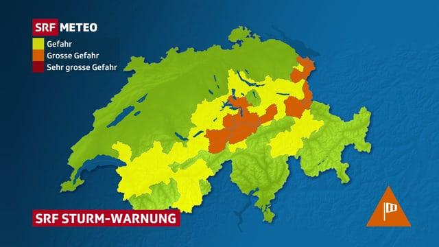 Ein Warnkarte zeigt eine Südföhnwarnung für die Alpen.