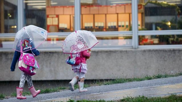 Zwei Schulkinder unter ihren Regenschirmen