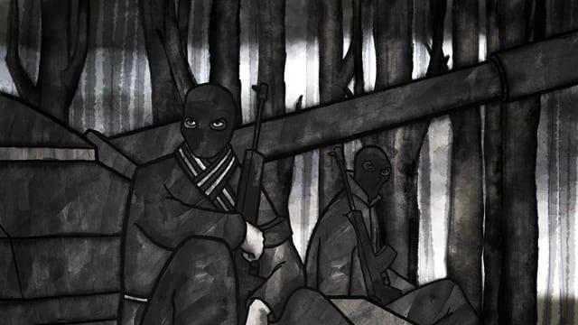 Zeichnung zwei Männer mit Sturmmaske und Gewehr sitzen am Boden.