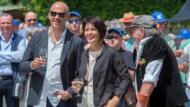 Alain Berset e Doris Leuthard durant il viadi dal Cussegl federal il 2016 a Saanen.
