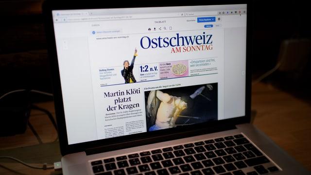 bildschirm mit Ostschweiz am Sonntag