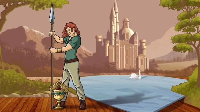 Zeichnung: Parsifal am See, im Hintergrund ein Schloss