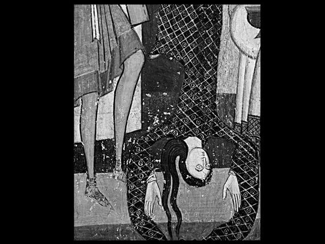 Tanzende Salome: Details aus Szenen aus dem Martyrium Johannes des Täufers, um 1200.