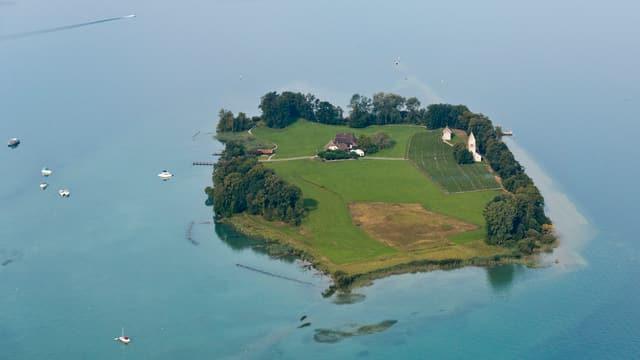 Luftaufnahme einer grünen Insel