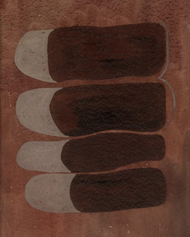 Vier aufgereihte ovale Formen.