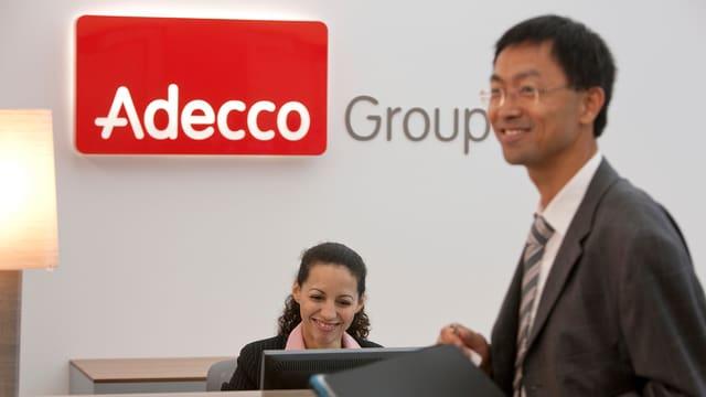 Der Empfang am Hauptsitz der Adecco Group in Glattbrugg