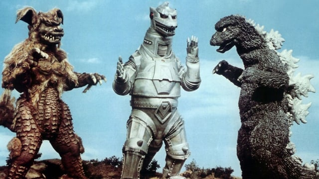 Godzilla und zwei andere Fabelwesen.