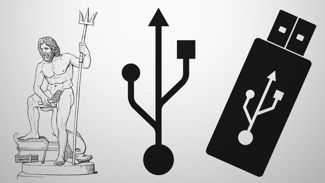 Poseidon und USB-Symbole.