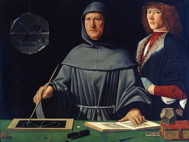 Porträt Luca Pacioli in Mönchsgewandt mit Schreibwerkzeugen