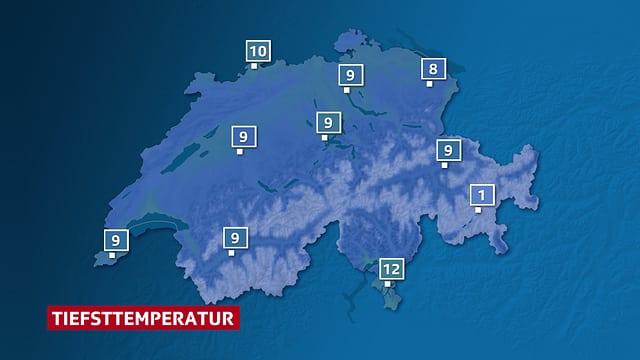 Ein Schweizer Karte mit den erwarteten Tiefsttemperaturen.