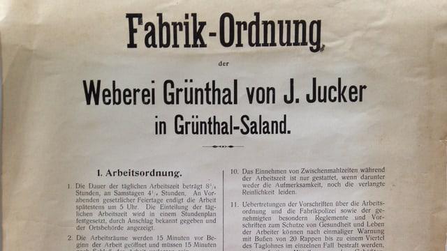 Foto der Fabrik-Ordnung aus der Weberei Grünthal, Juckern