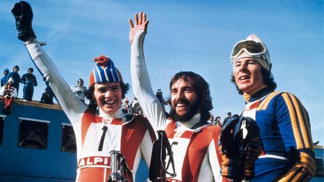 Podest cun Heini Hemmi (amez), Ernst Good (sanester) ed Ingemar Stenmark (dretg).