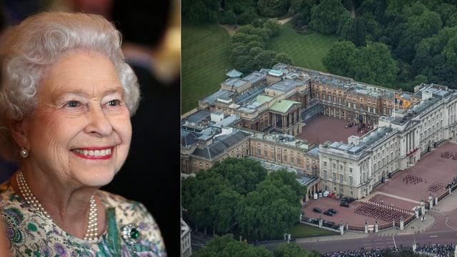 Zwei Bilder: Die Queen lächelnd und eine Luftaufnahme des Buckingham Palastes umgeben von einem grünen Garten.