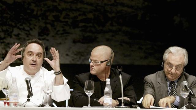 Gualtiero Marchesi è er in dals gronds cuschiniers en il mund –  Ferran Adria, Heston Blumenthal e Gualtiero Marchesi (da san.).