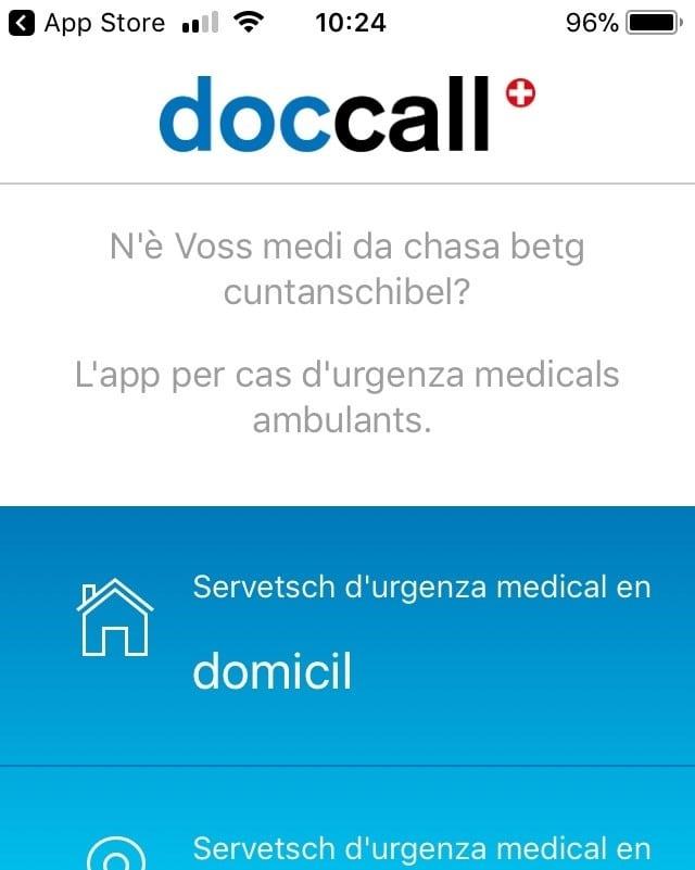 screenshot da la applicaziun «doccall» cun ils buttuns da contact