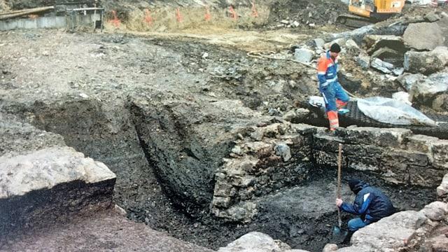 Grabung Herrenacker Süd: Hier fand man die Fundamente eines kleinen Handwerkerhauses.