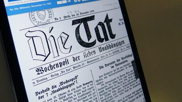 Foto der allerersten Titelseite von «Die Tat».