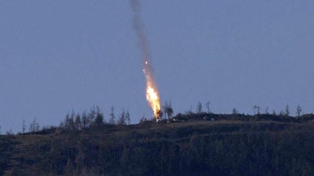 Explosiun da l'aviun d'armada russa tar la crudada.