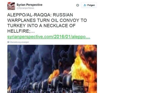 Tweet mit brennenden Tanklastwagen