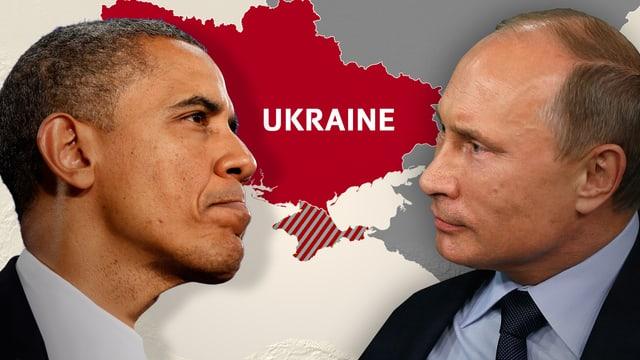 Grafik: Die Köpfe von Obama und Putin vor der Landkarte der Ukraine. (srf)