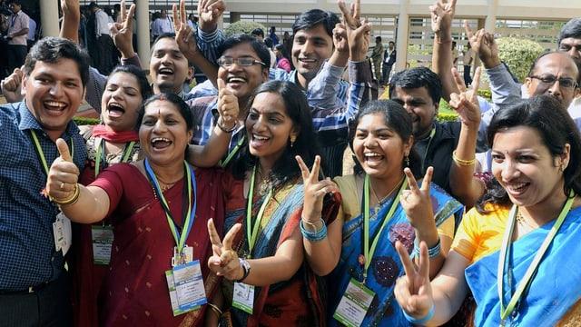 Indische Wissenschaftler freuen sich über den Erfolg der Marsmission
