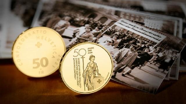 Goldene Gedenkmünze zu 50 Jahren Frauenstimmrecht.