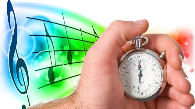 Stoppuhr und Musiknoten im Hintergrund